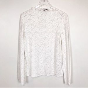 Banana Republic white floral lace mock neck top